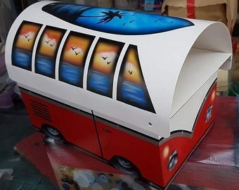 Red replica VW Kombi Mailbox