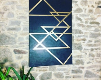 Table black and gold geometric