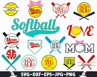 Softball Svg Softball Monogram Svg Monogram  Svg Cut Files Vector softball frame clipart Cricut download svg eps jpg png dxf Silhouette