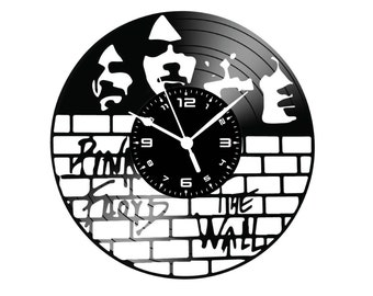 Clock on THE WALL pink floyd vinyl record hand made