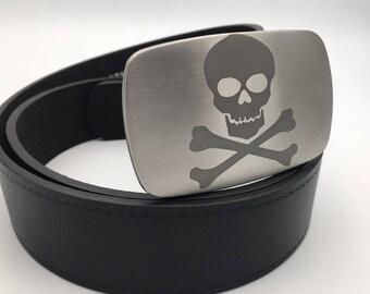 Skull belt buckle Stainless steel belt buckle snap on buckle gift for him bones belt buckle silver buckle metal belt buckle