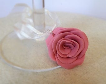 Clay Rose Wine Glass Favour