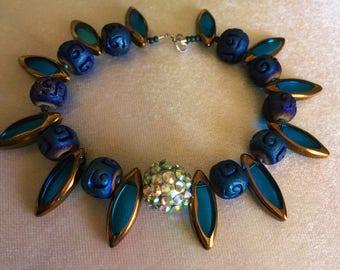 Bracelet,  Blue Glass & Ceramic Beads Bracelet, Handmade, Everyday Ornament, Birthday,  Gift for Her
