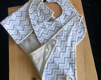 Set of 3 Signature Flannel Cotton and Terry Cloth Burp Cloth, Snap Bib and Kerchief Pacifier Bib/Grey Chevron