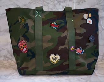 Large Travel Camouflage Tote with Custom Patches