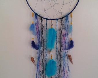 Blue dream catcher, shells, wall decoration, Marbufedern