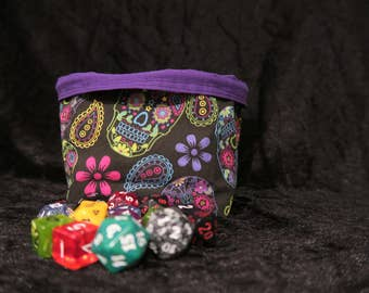 Small Square Dice Bag - Tile Pouch - Freestanding - Cotton - Reversible - Drawstring - Toggle - Storage - Game Gift - Black Purple Skulls