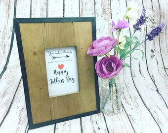 Father's Day frame, first Father's Day gift, personalised Father's Day gift, dad baby shower gift - rustic wooden frame