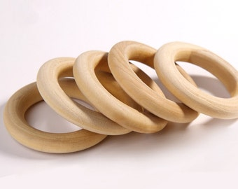 30 Pcs Wooden Teething Rings - 40 mm
