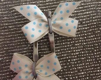 Blue polka dot bows