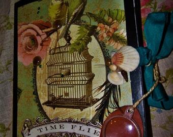 "Vintage Birdcage Junk Journal ""Time Flies"""