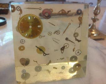 Vintage Exploded Watch in Lucite Paperweight Mid Century