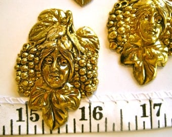 Grape Lady-Lady Face-Vintage Metal Findings-Jewelry, Crafts Supply- gold plated brass-1 lot (5 pcs)