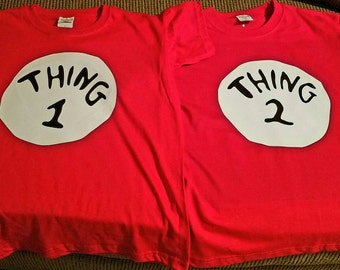 Dr Seuss Thing 1 and Thing 2 tshirts