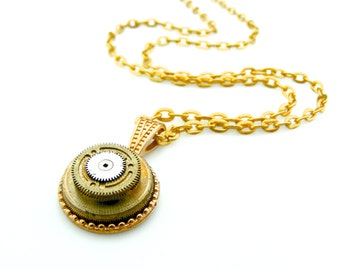 Steampunk Fashion - Watch Parts Pendant - Clockworks Necklace - Clockworks Watch Necklace - Industrial Pendant - Steampunk gift idea
