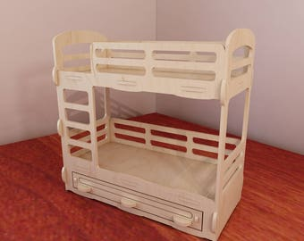 Bunk bed for Barbie dollhouse. Barbie-size 1:6 scale. Vector model for CNC router and laser cutting. Plywood 5mm. Doll furniture.  DXF, SVG.
