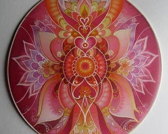 Mandala Art on Silk......Power...Love your life..Healing home decoration...Silk Art