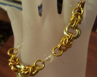 Princess Two Tone Gold colored and Faux Jewel Bracelet