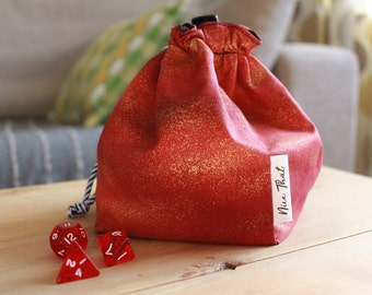 SALE! Red Haze Reversible Drawstring Dice Bag - For Gamers, Roleplayers, Dungeons and Dragons, Scrabble tiles, Carcassonne, Rummikub & more