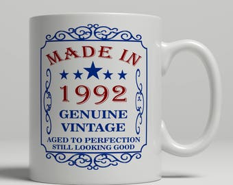 25th Birthday mug, 1992 Birthday mug, 25th Birthday Gift idea, 25th Birthday Idea, 25 mug, 1992, Happy Birthday, coffee mug EB 1992 Blue