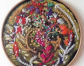 Hand embroidery art. Hoop art - Just try -