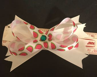 Watermellon hair bow for girls in white red and green
