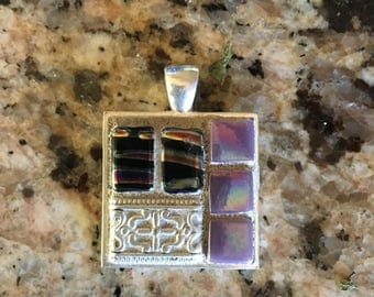 Faux silver glass beaded/grouted pendant