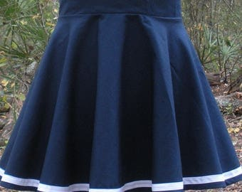 "Mini Circle Skirt With Stripe Accent - Available in Any Color with White or Black Stripe - Any Size Petite to Plus Size - 12"" - 16"" Length"