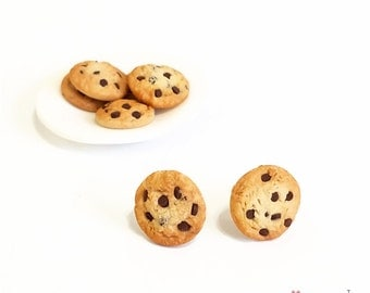 Chocolate Chip, Cookie Earrings, Polymer Clay Jewelry, Foodie Jewelry, Post Earrings
