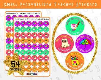 54 Personalised Teacher Stickers, Reward Stickers, School Stickers, New Teacher Gift Idea UK PERSONALISED