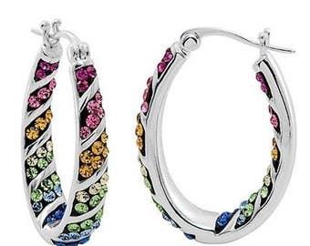 Rainbow Hoop Crystal Earrings