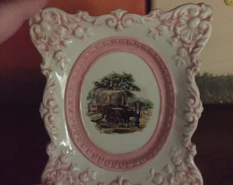 Vintage Porcelain Hand Painted Carriage Picture Pink