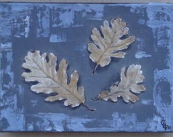 3 leaves oil painting oil on canvas Board
