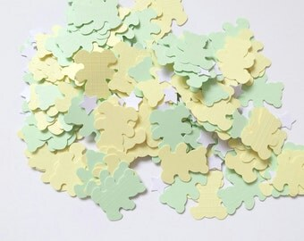Handmade teddy bear baby shower confetti in yellow and green pastel colours with white stars