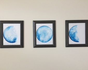 Original Watercolor Moon Phase Paintings Set of 3