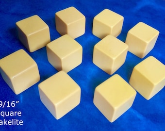 """Lot of 5.  Vintage Undrilled 9/16"""" Butterscotch Bakelite Catalin Cubes for Jewelry Making"""