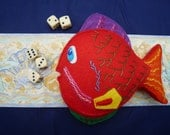 Handmade felt colourful embroidered fish with fins and detail seaside gift fish toy
