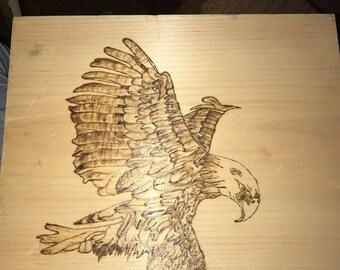 Wood burned Bald Eagle
