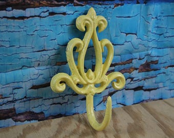 Cast Iron Decorative Scroll Wall Hook Yellow