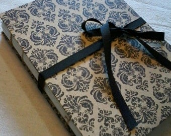 Handmade, damask print journal or sketchbook