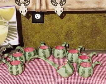 Vintage 9pc Ceramic Mugs W/Ladle - its almost Springtime Watermelon Season!
