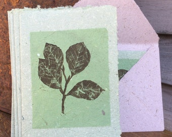 Beech Tree GREEN Handmade Greeting Card made from Block Printed Handmade Recycled Paper
