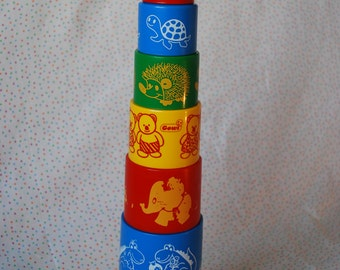 Vintage Colourful Stacking Cups, Baby and Toddler, Set of 9