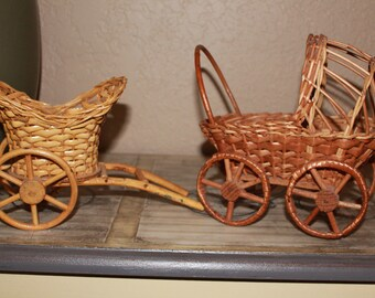 Cute Miniature Wooden/Wicker Baby Carriage and Pull Cart Handmade In Portugal
