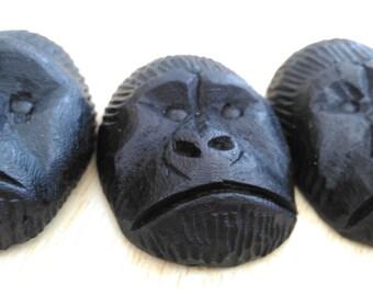Ugandan Gorilla Wood Carving Magnets