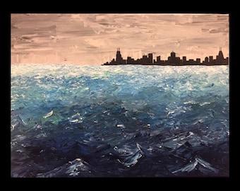 Chicago skyline Lake Michigan Acrylic on Canvas Original Painting