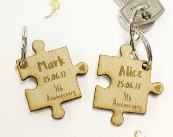Personalised Valentines Day and Anniversary Date, Couples Jigsaw Keyrings, Keychain, Wedding Gifts, Wood