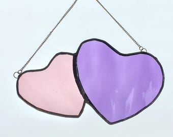 Purple double heart in stained glass
