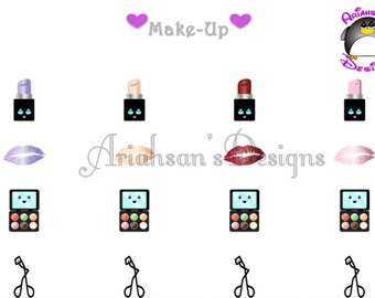Kawaii Make-Up Stickers, Planner Stickers, Lipstick Stickers, Printable, Planner