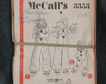 McCall's 3353 Clown Costume Children's Size 6-8 Sewing Pattern